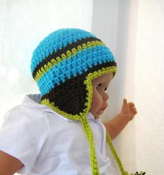Free Crochet Pattern Toddler Earflap Hat : Crochet Pattern Hat Newborn Baby to Adult Boy and Girl