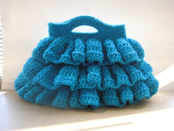 Free Crochet Pattern, Bella Ruffled Bag, Pdf Pattern