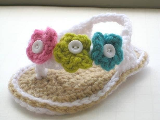 Crochet Pattern Baby Booties Orchid Sandals : Crochet Pattern Booties Baby Flip Flops or Thongs for