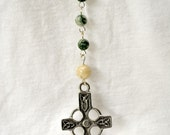 Celtic rosary with silver accents, and agate and riverstone beads
