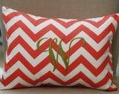 Monogrammed Coral Chevron Print Throw Pillow-Small Lumbar--CLEARANCE