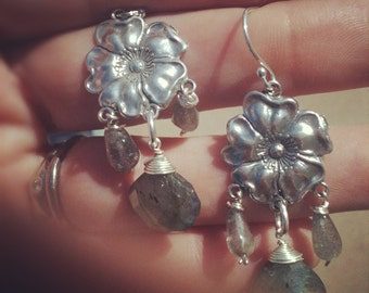 beautiful sterling blossom earrings with labradorite drops