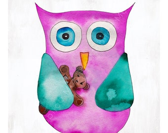 DIGITAL Owl watercolor-nursery art postcard sized instant download-baby owl with teddy bear-print your own