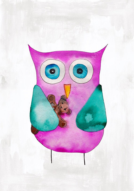 DIGITAL watercolor illustration-baby owl with teddy bear-nursery art digital download from original illustration