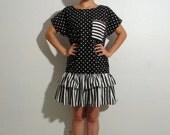 Vintage Dress (Cute, Unique Black and White Polka Dot and Striped 1980's Drop-waist, Ruffle Skirt Dress, Medium / Large)