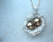 the goose that laid the golden egg - birds nest necklace