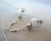 Handblown glass earrings in clear