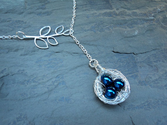 Blue Birds Nest Lariat - The Adrienne Necklace
