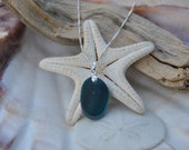 Ocean Green Surf Tumbled Genuine English Sea Glass Necklace (2)