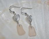Genuine Sea Glass Earring (Pink Heart)