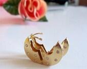 Gold Hinged Earrings- Vintage- Rhinestone- Hoops-  Stunning- Thailand