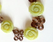 Necklace- Earrings- Wire Wrapped- Olive Jade- Flower- 2 Piece Set- Gemstone-  Handmade Jewelry
