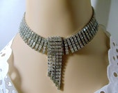 80s Deco Rhinestone Parure Set- Necklace- Earrings- Bracelet- Vintage- Bridal- 3 Piece Set- Choker- Hollywood Glamor