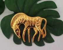 Zebra Pin Gold  Brooch Vintage