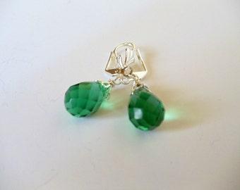 Wire Wrapped Earrings- Green Quartz- Teardrops- Gemstone- Handmade Jewelry