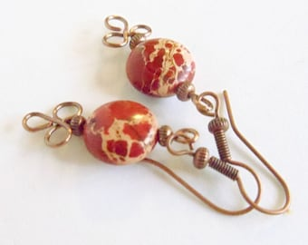Wire Wrapped Earrings- Jasper and Copper Dangles-  Gemstone- Handmade Jewelry