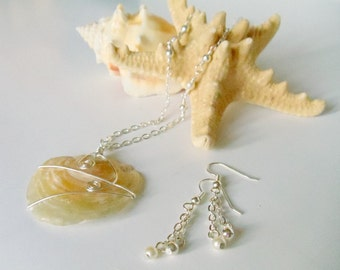 Shell Pendant  Pearl  Jingle Shell Necklace  2 Piece Necklace Set  Wire Wrapped  Handmade jewelry