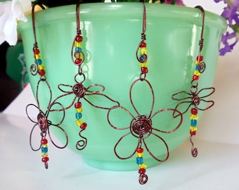 Dragonflies And Daisies Pot Sitters, Wire Ornament,  (Pot Charms) Wire Wrapped Handmade by simplysuzie2
