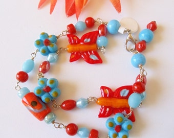 Wire Wrapped Bracelet Lampwork Turquoise Orange Butterfly and Flowers  2 Strand  Handmade Jewelry
