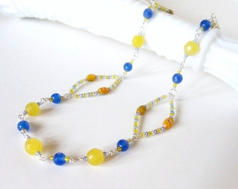 Wire Wrapped Necklace Set  Blue and Yellow Chalcedony 2 Piece Gemstone Handmade Jewelry