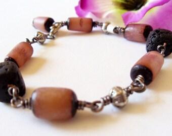 Wire Wrap Bracelet  Lava Bracelet  Wire Wrap Jewelry  Betel Nut Bracelet Gemstone Bracelet Handmade Jewelry