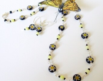 Wire Wrap Necklace Set- Olive Jade-  Millefiori Glass- 2 PieceSet- Gemstone- Handmade Jewelry
