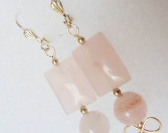 Earrings- Rose Quartz- Wire Wrapped- Silver Dangles- Gemstone- Handmade Jewelry