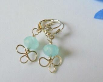 Earrings- Aquamarine- Wire Wrapped- Silver- Dangles- Gemstone-  Handmade Jewelry