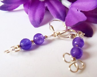 Earrings- Amethyst- Wire Wrapped- Silver Dangles- Gemstone- Handmade Jewelry