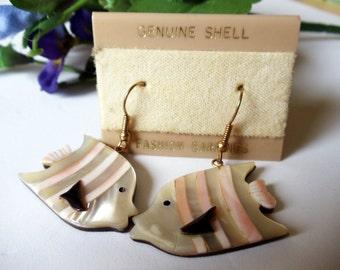 Vintage Angel Fish Earrings- Genuine Shell- Dangles- 1980- Beach Jewelry