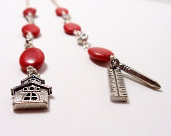 Book Chain- Wire Wrapped Teacher Bookmark- Red Howlite - Book Mark- Book Jewelry- Handmade