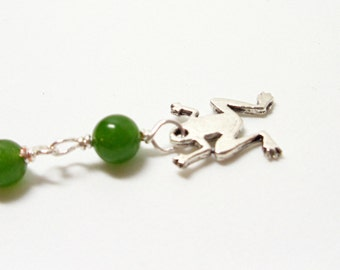 Zipper Pull- Wire Wrapped Frog Purse Charm- Green Adventurine - Bag Tag- Handmade