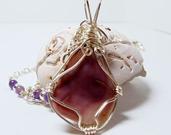 Shell Pendant  Amethyst Quahog Clam Wire Wrapped Necklace Wampum Handmade Jewelry