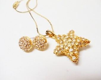 Necklace- Earrings- Vintage Jewelry Set- Rhinestone- Studded Star Pendant- Post Earrings