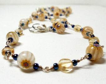 Wire Wrapped Necklace- 2 Piece Set- Citrine and Millefiori Glass-  Gemstone- Handmade Jewelry