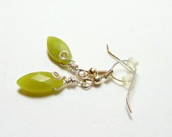 Green Earrings- Olive Jade Earrings-  Marquis Cut Earrings- Wire Wrapped Earrings- Gemstone Earrings- Dangle Earrings- Drop Earrings