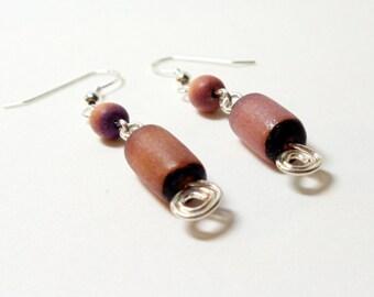 Pink Earrings- Wire Wrapped Earrings- Betel Nut Earrings- Dangles- Drop Earrings- Spiral Earrings