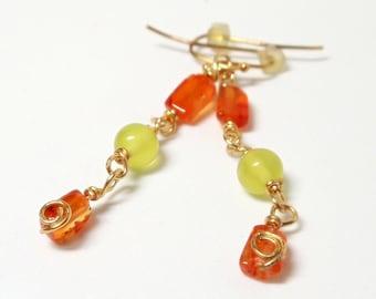 Carnelian Earrings- Olive Jade Earrings-  Dangle Earrings- Wire Wrapped Earrings- Gemstone Earrings- Orange Lime Earrings-Drop Earrings