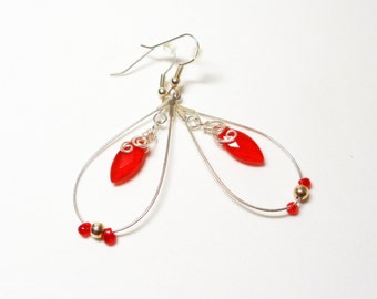 Wire Wrapped Earrings- Red Quartz- Faceted Marquise- Dangles- Hoops- Gemstones- Handmade Jewelry