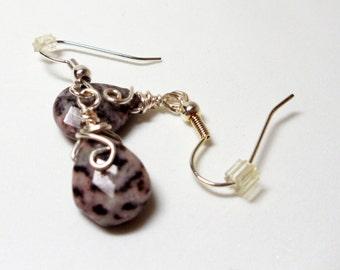 Earrings- Faceted- Leopardskin- Wrapped- Jasper Teardrops- Gemstones- Handmade Jewelry