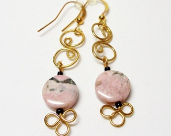 Wire Wrapped Earrings- Pink Jasper- Brass Dangles- Gemstone- Handmade Jewelry