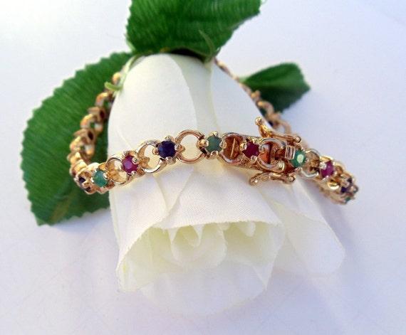 Gemstone Tennis Bracelet Gold Over Sterling Silver Multi Gemstones Vintage (925)