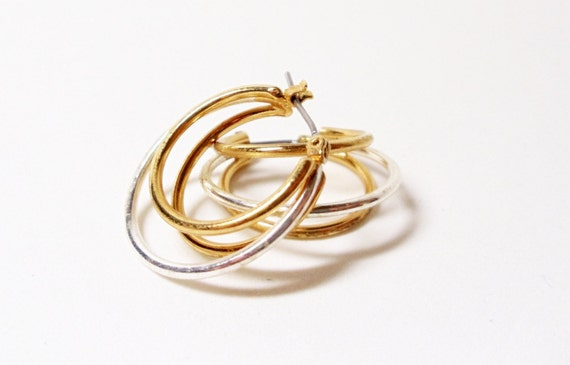 Hoop Earrings- 3 Pair- Silver-  Gold-  Vintage- Instant Collection