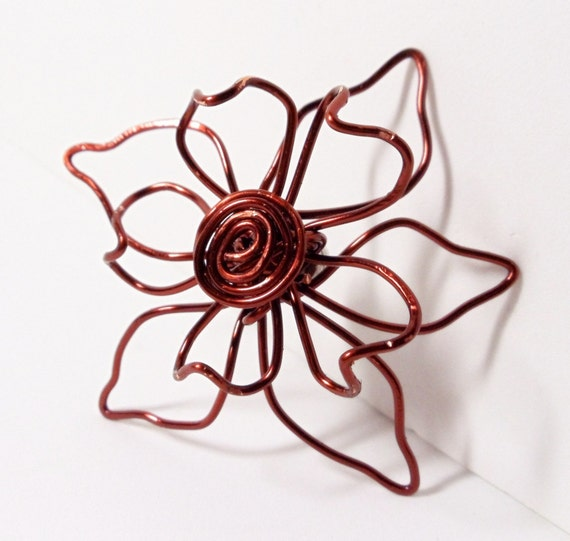 Magnetic Brooch- Copper Flower- Scarf Pin- Hat Pin-  Handmade Jewelry
