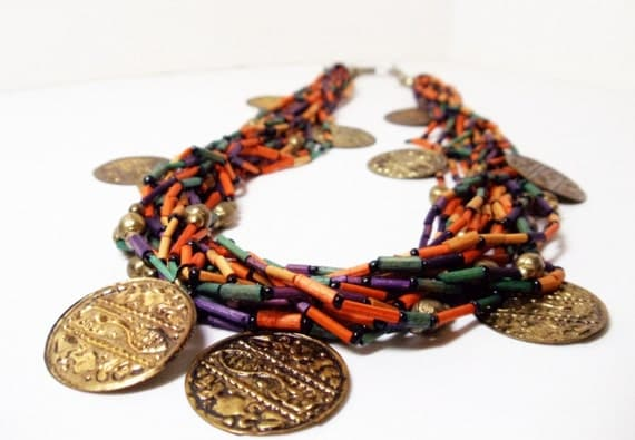 Tribal Necklace- Bib Necklace- Coin Necklace- Boho Necklace-  Multistrand Necklace- Colorful Wood Necklace- 1980 Jewelry- Vintage
