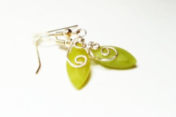 Olive Jade Earrings-Green Earrings- Marquis Cut Earrings- Wire Wrapped Earrings- Gemstone Earrings- Dangle Earrings- Drop Earrings