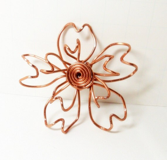 Magnetic Flower Brooch- Wire Wrapped- Copper - Scarf Pin- Hat Pin- Handmade Jewelry