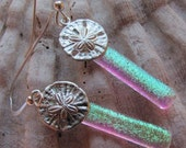 Silver Sand Dollars and dichroic glass dangle earrings