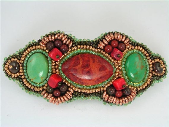 Southwest Delight Bead Embroidery Hair Barrette