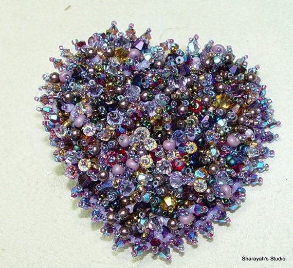 Passionate Purple Heart Bead Embroidery  Brooch SALE Now 75.00 was 100.00  Reserved for Mary